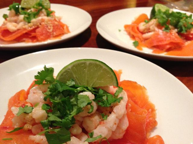 smoked trout with coriander garnish