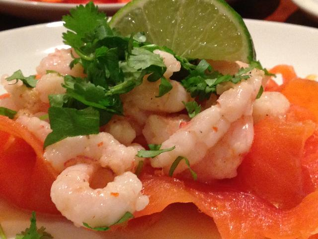 fragrant prawn on a bed of smoked trout