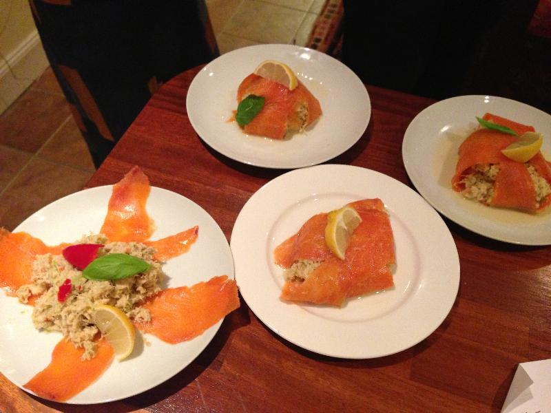 delicous trout and crab parcels