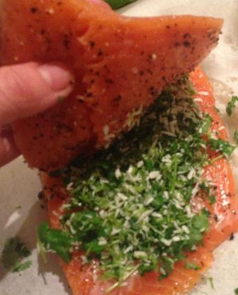 trout filling of coriander lime and coconut