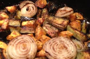 balsamic veg out of the oven