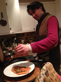 Olly marinading trout