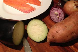 trout recipe roast veg ingredients