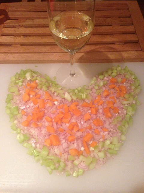 Valentine trout diced vegetable heart